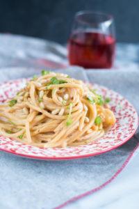 Creamy Rosé Pasta is made with cashews and rose wine. #vegan #pasta #veganrecipes