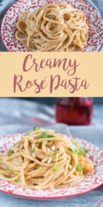 This Creamy Rosé Pasta recipe has become a family favorite. It is easy to make and doesn't require tons of ingredients! #vegan #veganrecipe #pasta #dinner #fall #fallrecipes