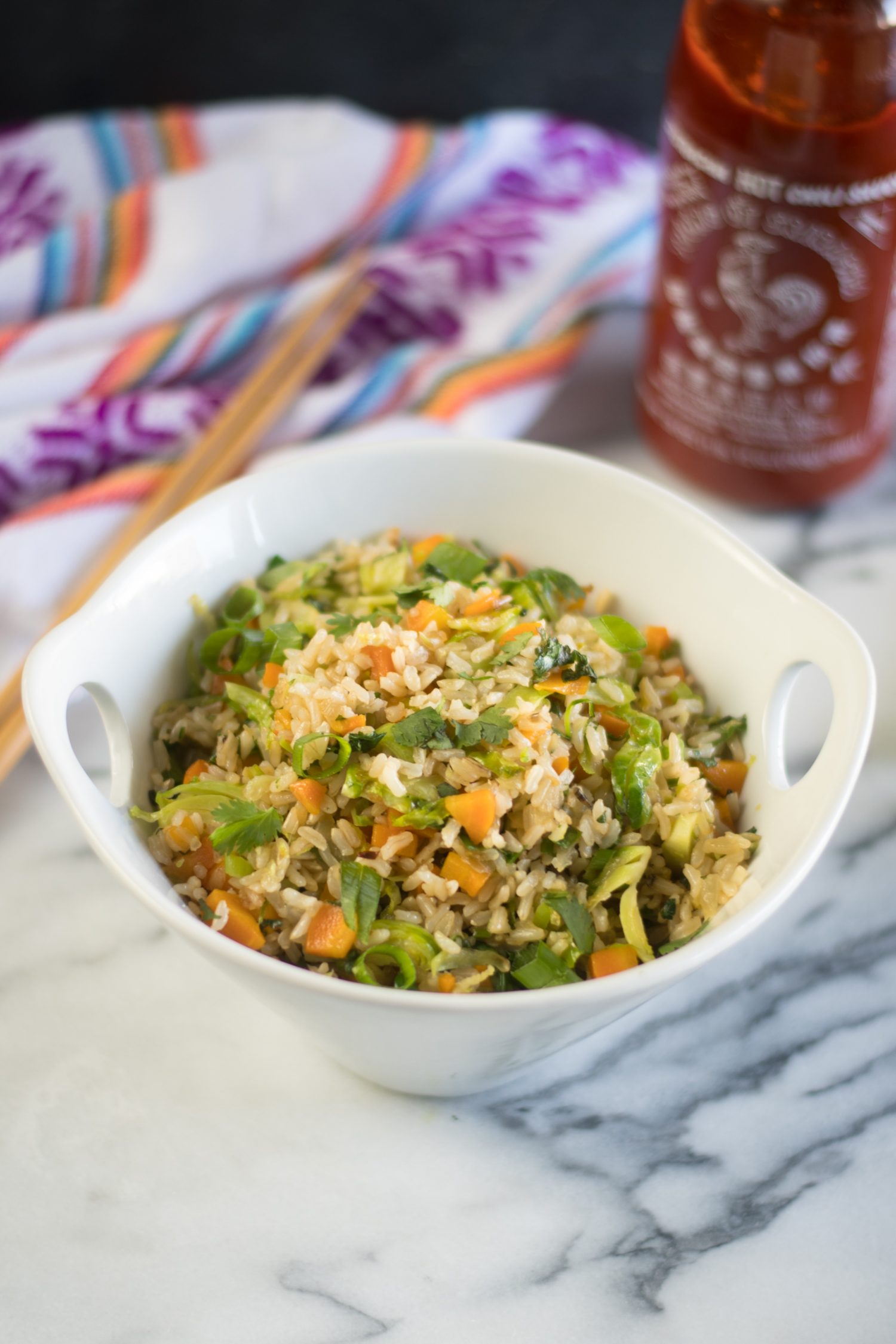 Skip the take-out and make this healthy Vegan Brussel Sprout Fried Rice at home!