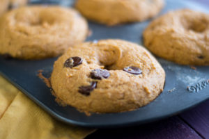 These Baked Pumpkin Spice Chocolate Chip Donuts are fluffy, light, and perfect for fall!