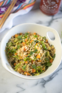 Skip the take-out and make this healthy Vegan Brussel Sprout Fried Rice at home! #vegan #recipes #vegetarian #Thai #healthy #healthyrecipes
