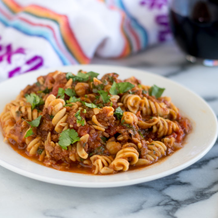 Vegan Chorizo and Chickpea Pasta is a hearty protein packed plant-based entree. #vegan #pasta #recipe #dinner