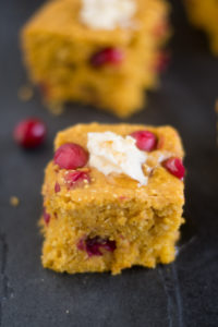 Vegan Pumpkin Cranberry Cornbread is perfect for making this fall and for Thanksgiving. #vegan #pumpkin #recipes #Thanksgiving #fall