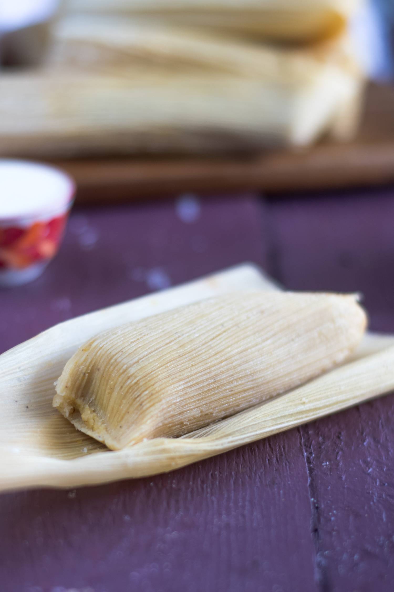 Vegan Tamales filled with butternut squash and black beans.