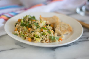 Skip the take-out and make this healthy Vegan Brussel Sprout Fried Rice at home! #vegan #vegetarian #recipe #healthy #healthyrecipes