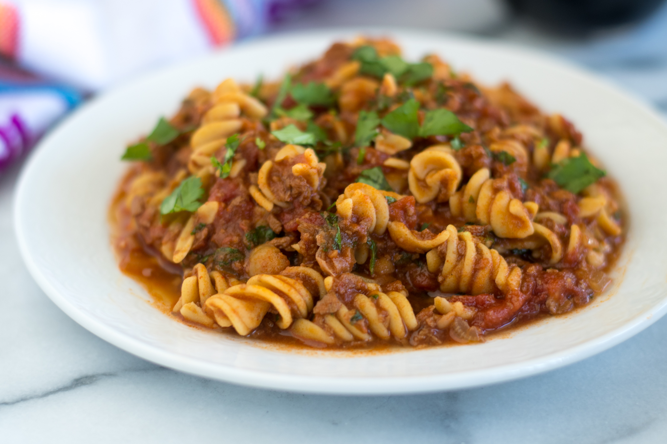 Vegan Chorizo and Chickpea Pasta is a hearty protein packed plant-based entree.