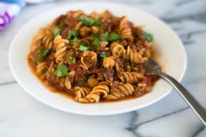 Vegan Chorizo and Chickpea Pasta is a hearty protein packed plant-based entree. #vegan #pasta #recipe #chorizo #glutenfree