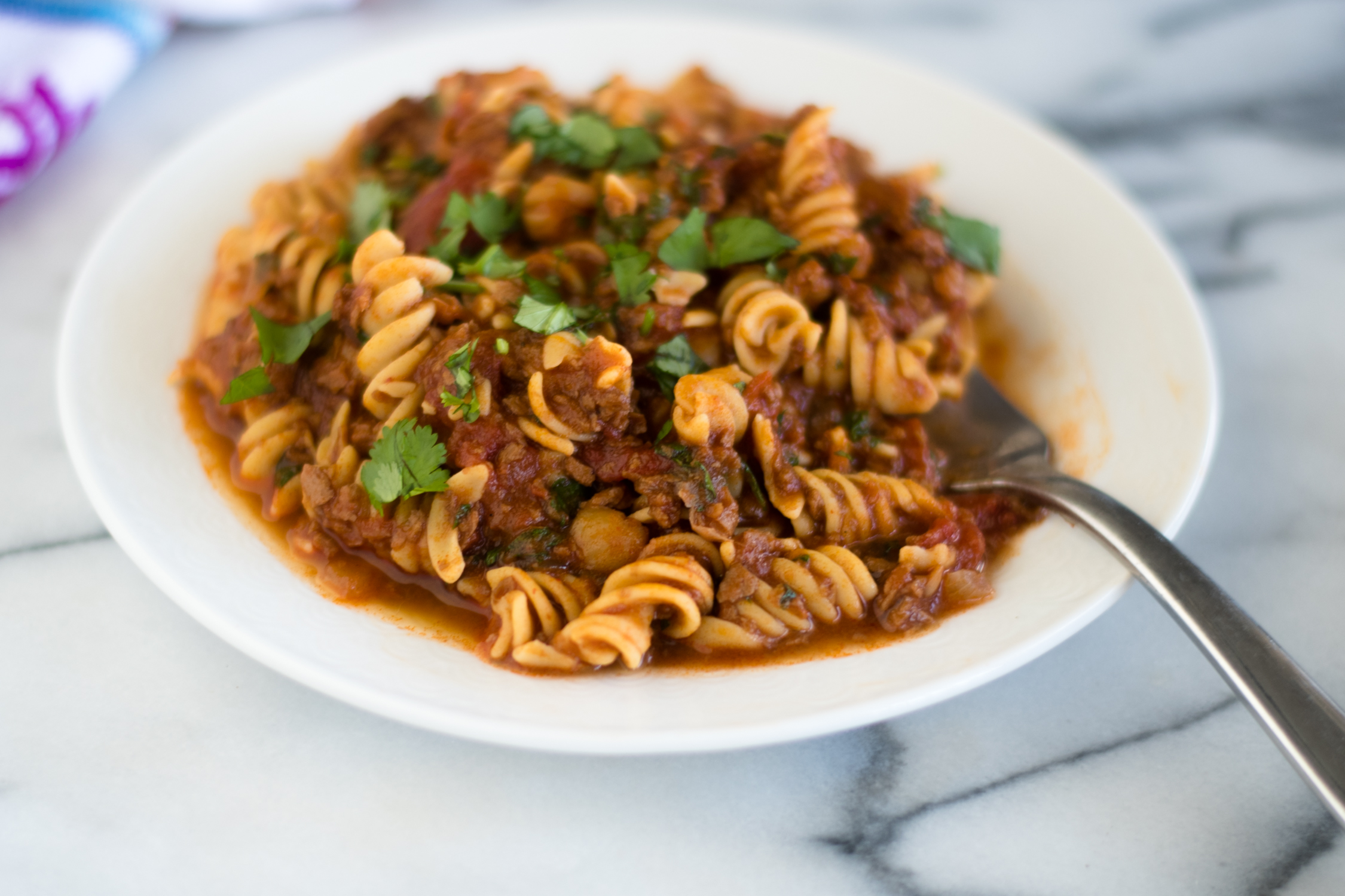 Vegan Chorizo and Chickpea Pasta is a hearty protein packed plant-based entree. #vegan #pasta #recipe #chorizo #glutenfree