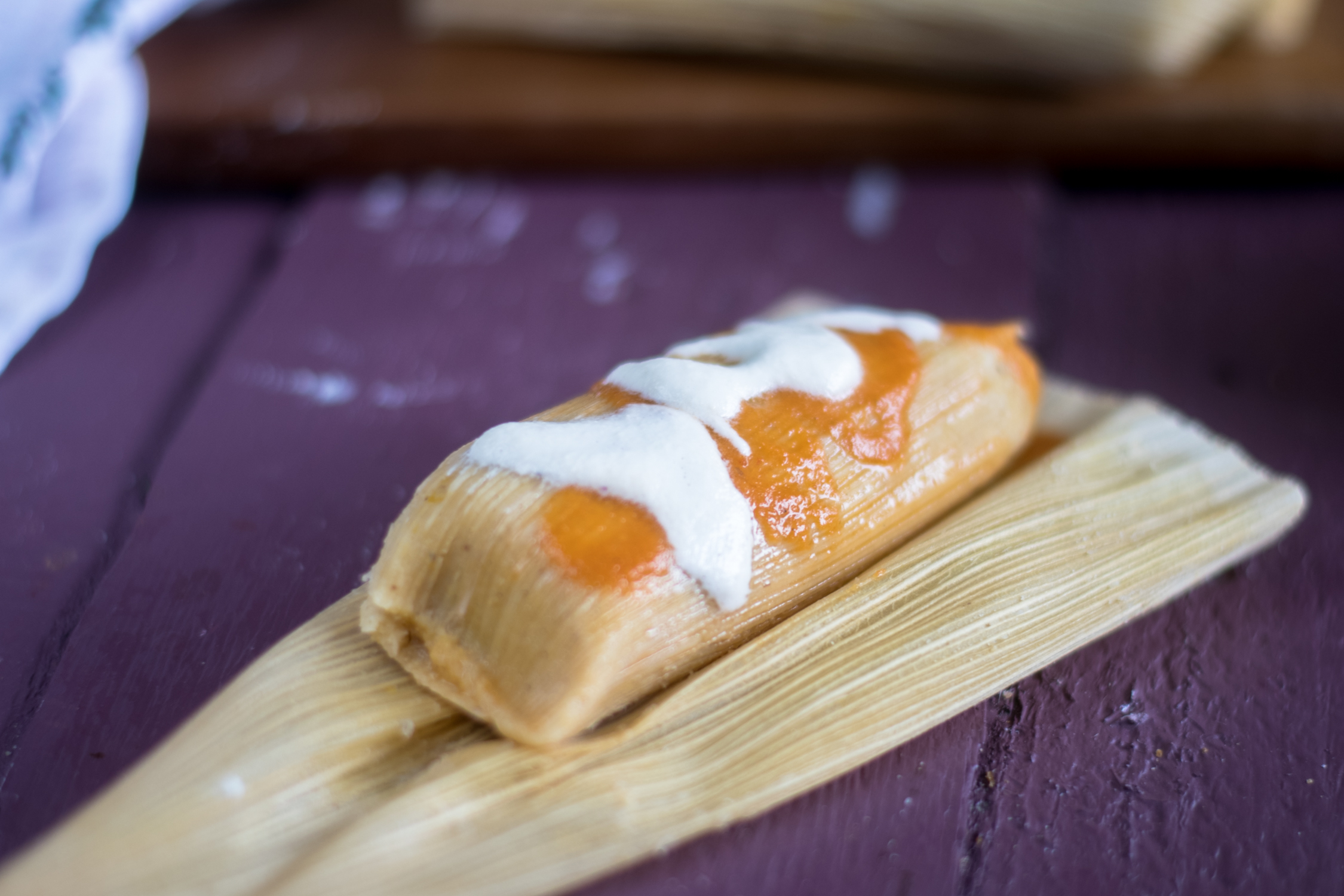 Vegan Mexican tamales filled with butternut squash and black beans.