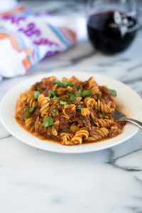 Vegan Chorizo and Chickpea Pasta is a hearty protein packed plant-based entree. #vegan #pasta #recipes