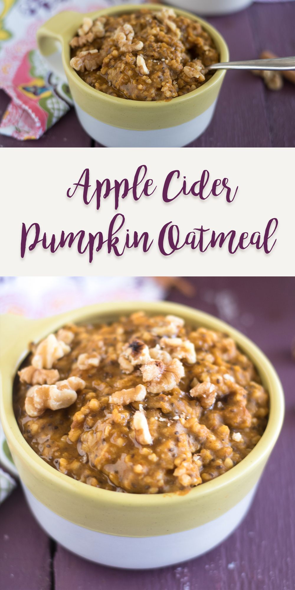 Apple Cider Pumpkin Oatmeal is made right in the slow cooker for an easy breakfast. Great for meal prepping too! #vegan #fall #recipe #breakfast #slowcooker