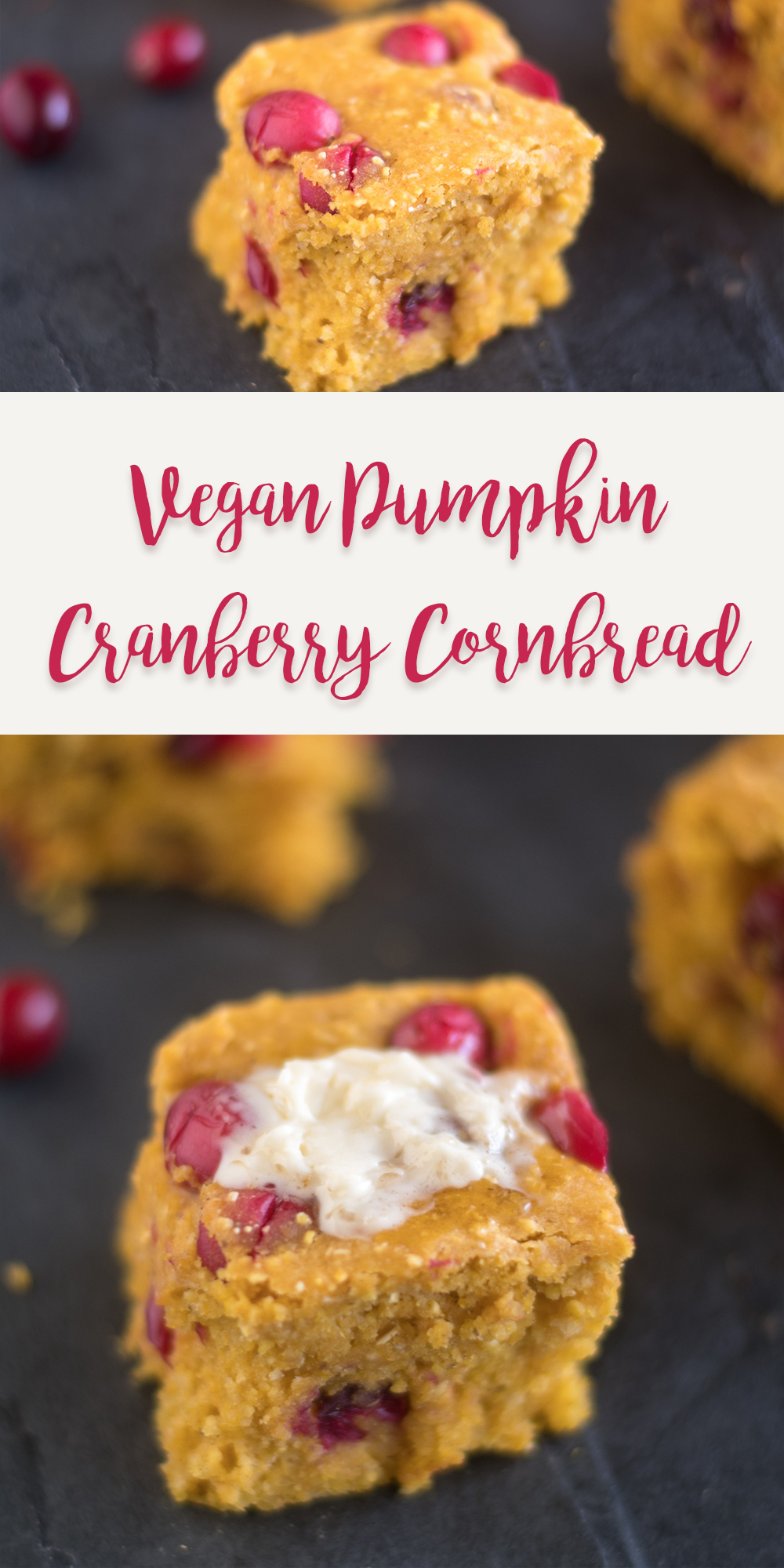 Vegan Pumpkin Cranberry Cornbread is perfect for making this fall and for Thanksgiving. #Fall #recipe #vegan #thanksgiving #pumpkin #holiday