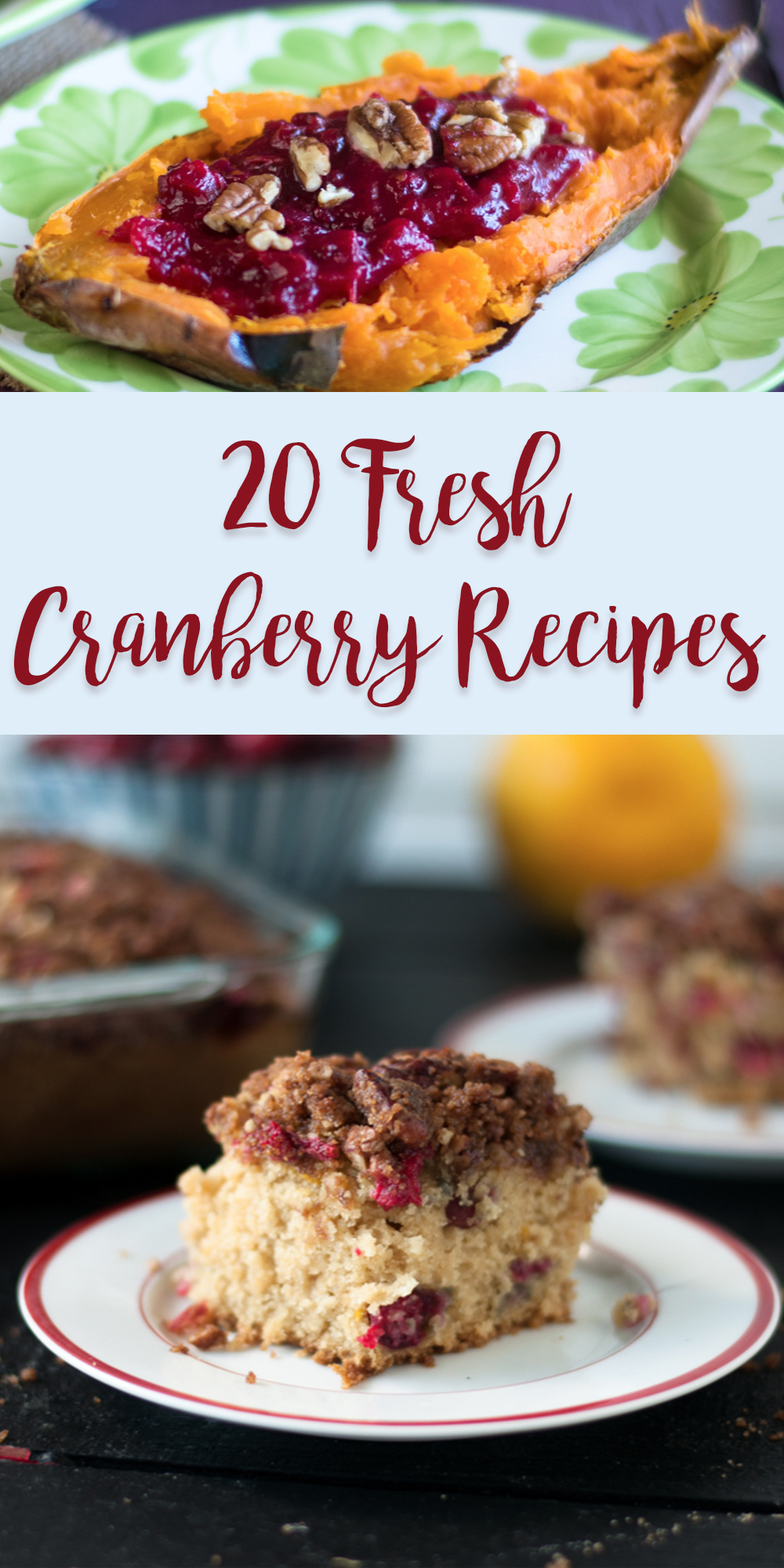 Fresh cranberries are so versatile. Cranberries can be used in salads, smoothies, desserts and more! There are so many great fresh cranberry recipes out there. These 20 fresh cranberry recipes are perfect for the upcoming holiday season too! #cranberry #fall #thanksgiving #vegan #recipes #healthyrecipes #Christmas #Holiday