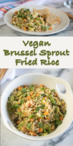 Skip the take-out and make this healthy Vegan Brussel Sprout Fried Rice at home! #vegan #rice #recipe #healthy #vegetarian #veganrecipes