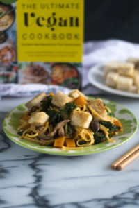 This Butternut Squash and Kale Lo Mein with Crispy Tofu from The Ultimate Vegan Cookbook is healthy and delicious vegan entree recipe! #vegan #recipes #pasta #healthy #entree #dinner #kale