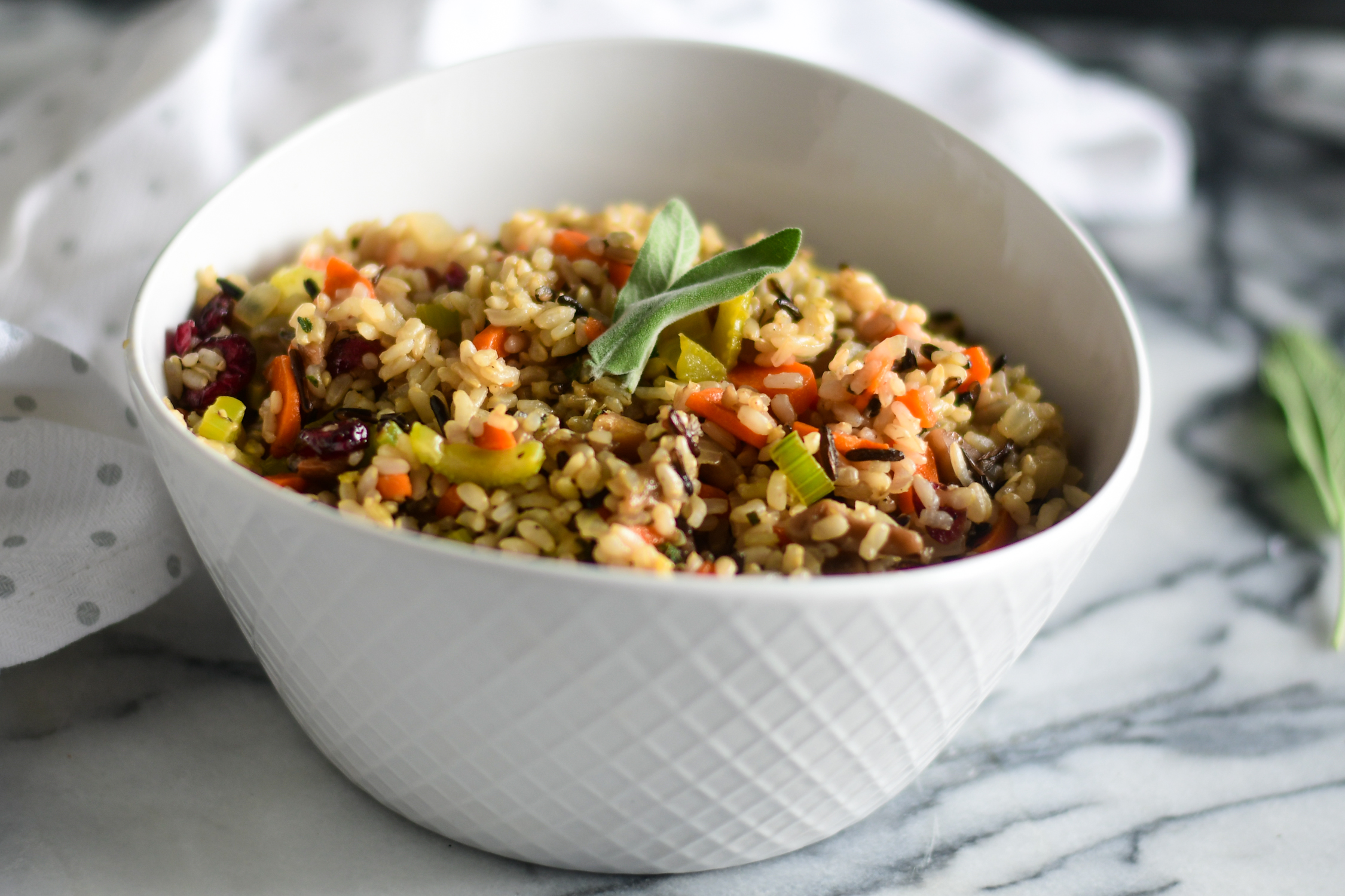 ThisBrown and Wild Rice Chestnut Stuffing is the perfect side dish to your holiday meal. It is so easy to make and can be made ahead of time!