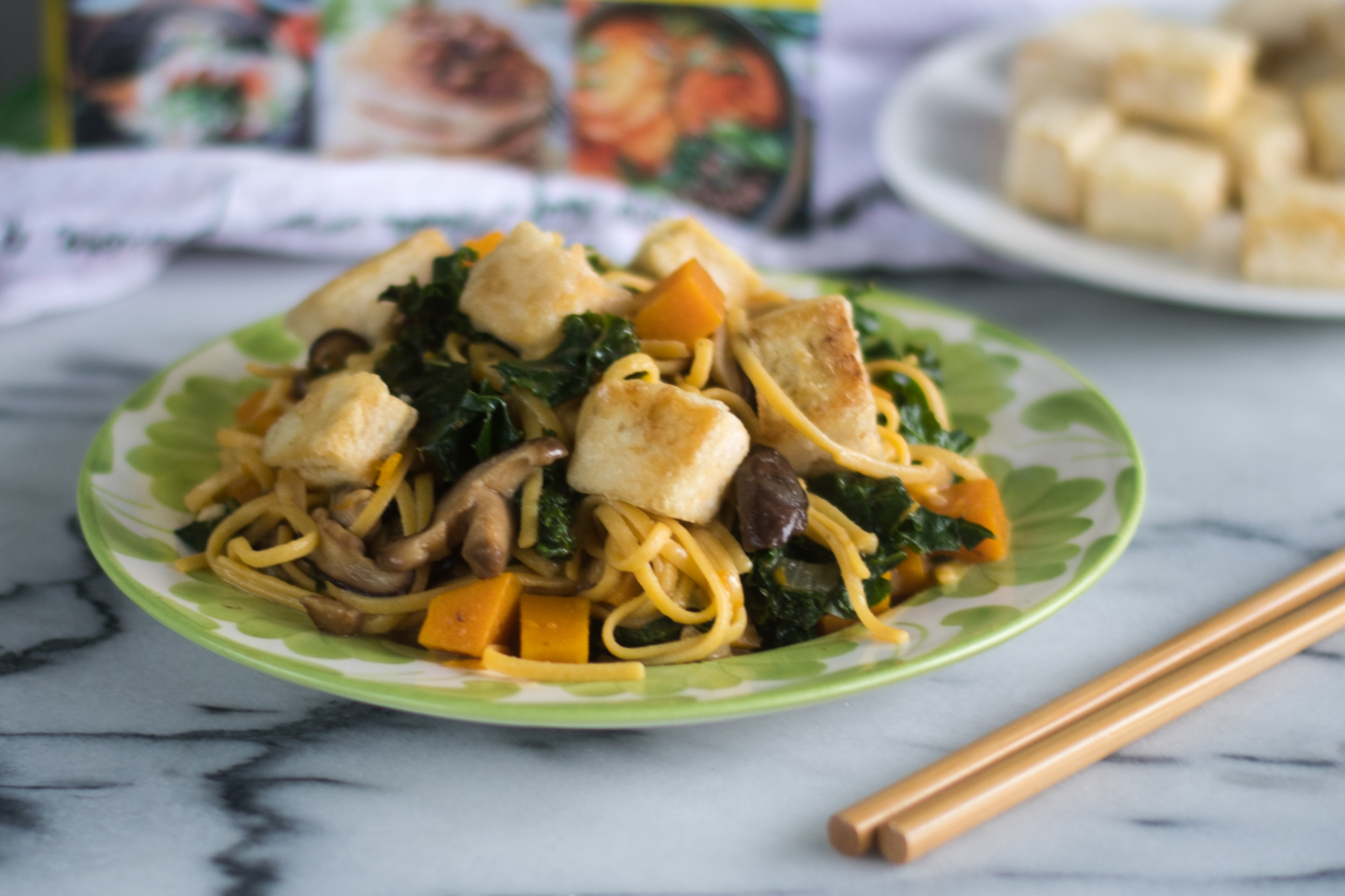 This Butternut Squash and Kale Lo Mein with Crispy Tofu from The Ultimate Vegan Cookbook is healthy and delicious vegan entree recipe!