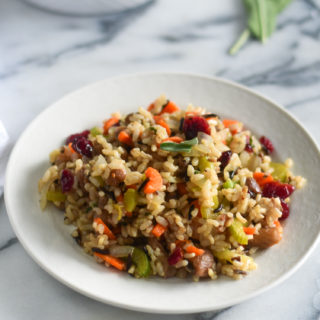 This Brown and Wild Rice Chestnut Stuffing is the perfect side dish to your holiday meal. It is so easy to make and can be made ahead of time! #vegan #recipe #fall #holidays #Christmas #veganrecipes