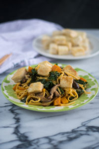 This Butternut Squash and Kale Lo Mein with Crispy Tofu from The Ultimate Vegan Cookbook is healthy and delicious vegan entree recipe! #vegan #recipe #healthy #veganrecipes