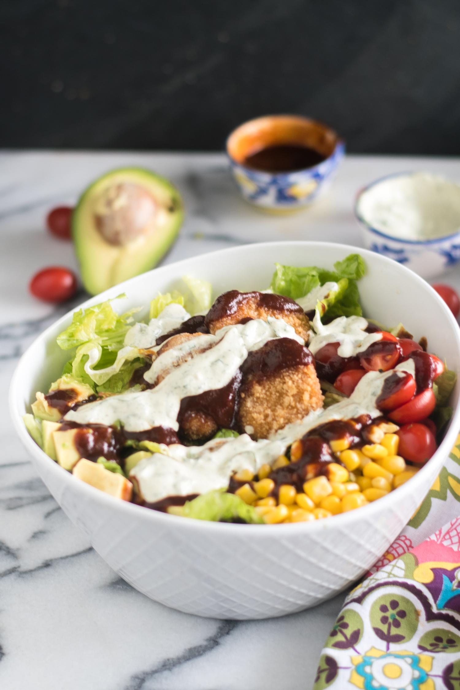 Vegan Ranch BBQ Chicken Salad