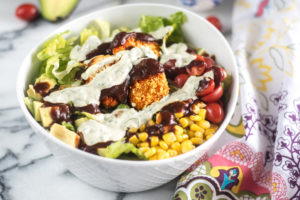 The star of this Vegan BBQ Ranch Chicken Salad is the newMorningStar Farms® BBQ Chik'n Nuggets. They're vegan, of course, but that doesn't mean that just vegans and vegetarians will enjoy them. They have a hearty barbecue flavor which will satisfy even picky omnivores. #vegan #salad #recipe