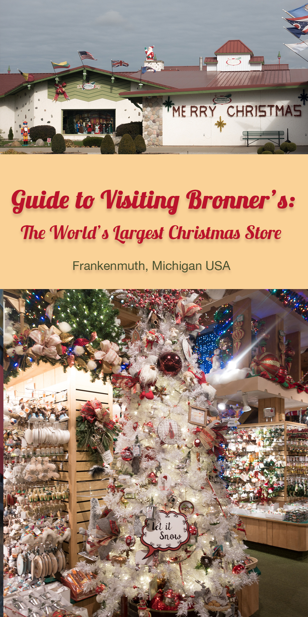 At Bronner's CHRISTmas Wonderland, you can experience Christmas year-round. This guide to visiting Bronner's will show you why you need to visit this magical place. Plus some tips for your visit! #Christmas #Holiday #Michigan #Frankenmuth #Travel #travelguide #shopping