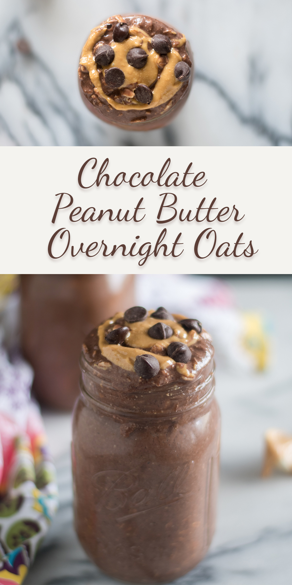 Prep these Chocolate Peanut Butter Overnight Oats the night before and have breakfast waiting for you in the morning! #vegan #recipes #breakfast