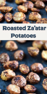 Classic roasted potatoes are elevated with the addition of za'atar. Za'atar is a Middle Eastern spice blend of sumac, sesame seed and herbs. #Side #MiddleEastern #Vegan #potatoes #Side #recipes #veganrecipes #dairyfree #glutenfree #spice #easyrecipes