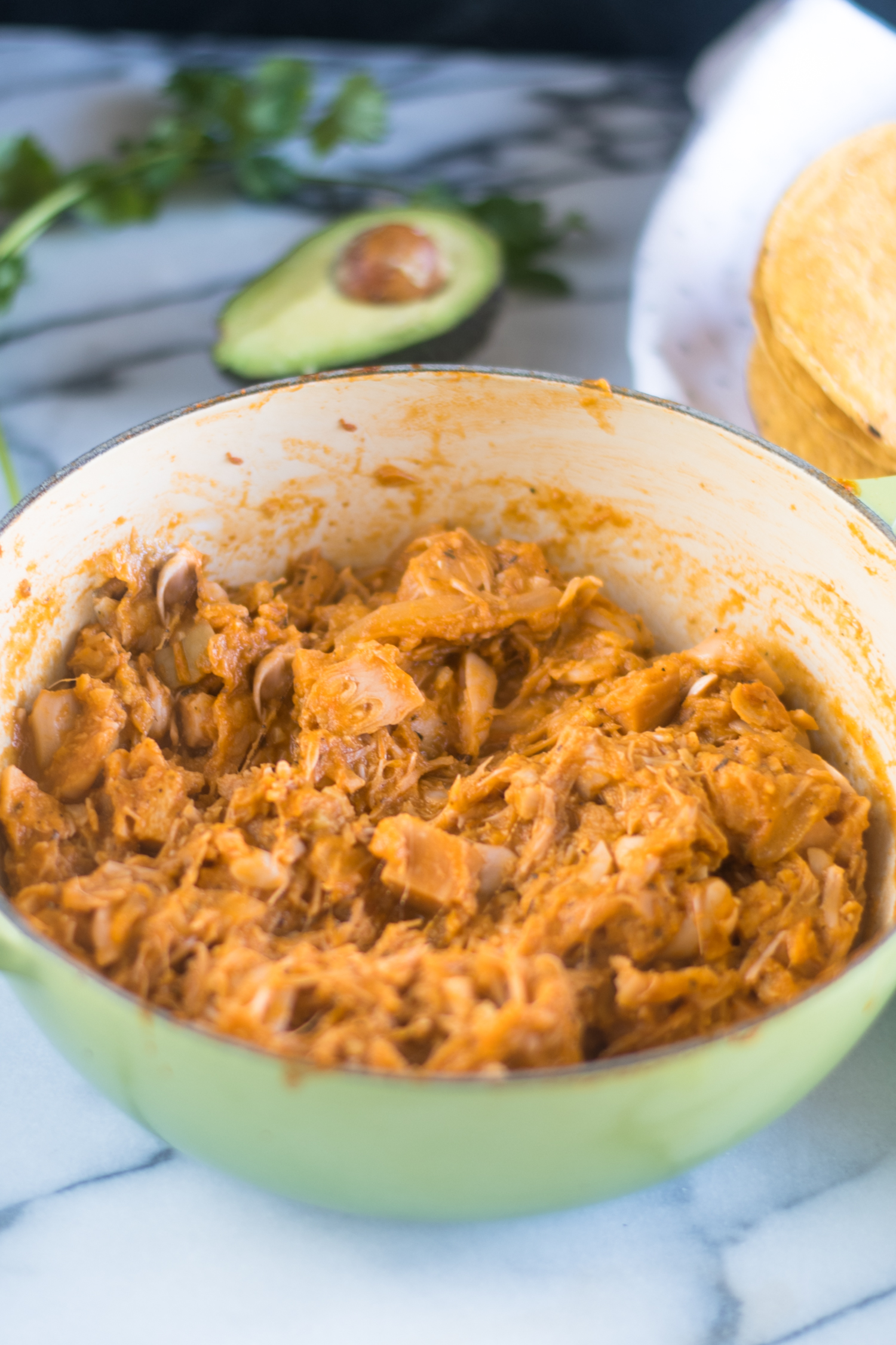 Jackfruit Tinga Tostadas are a vegan version of traditional Mexican tinga. #vegan #recipes #Mexican #recipes
