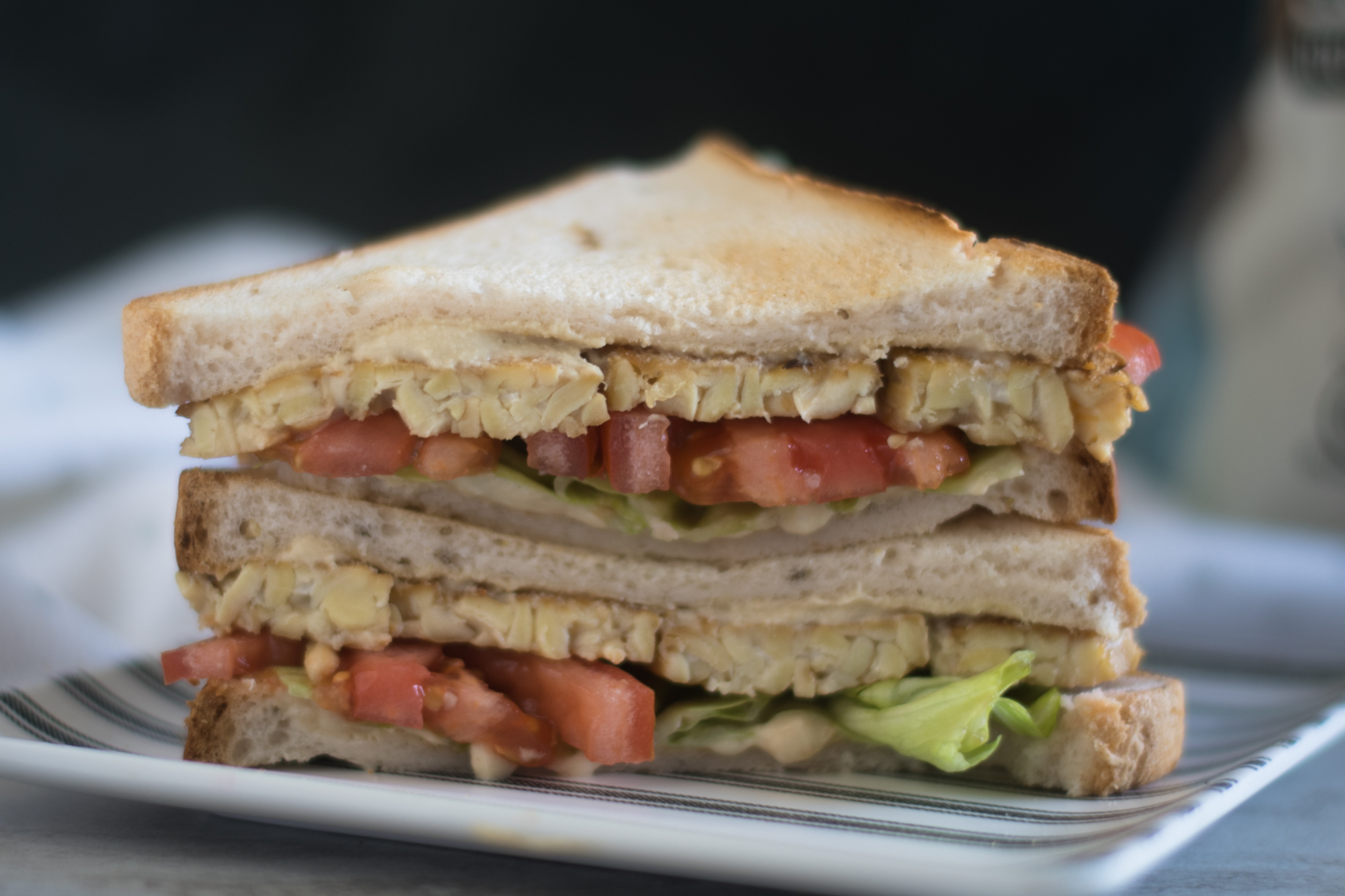 Vegan Hummus BLT is a healthy, glutenf-free sandwich.