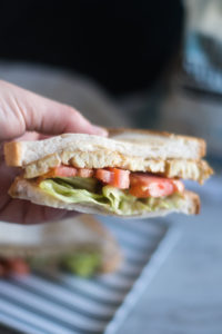 Vegan Hummus BLT Sandwich that is healthy and gluten-free! This healthy sandwich is easy to make and delicious!
