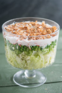 Vegan 7 Layer Salad is an updated version of a traditional Midwest layered salad. It is even better the next day! #vegan #salad #holiday #Christmas #veganrecipes