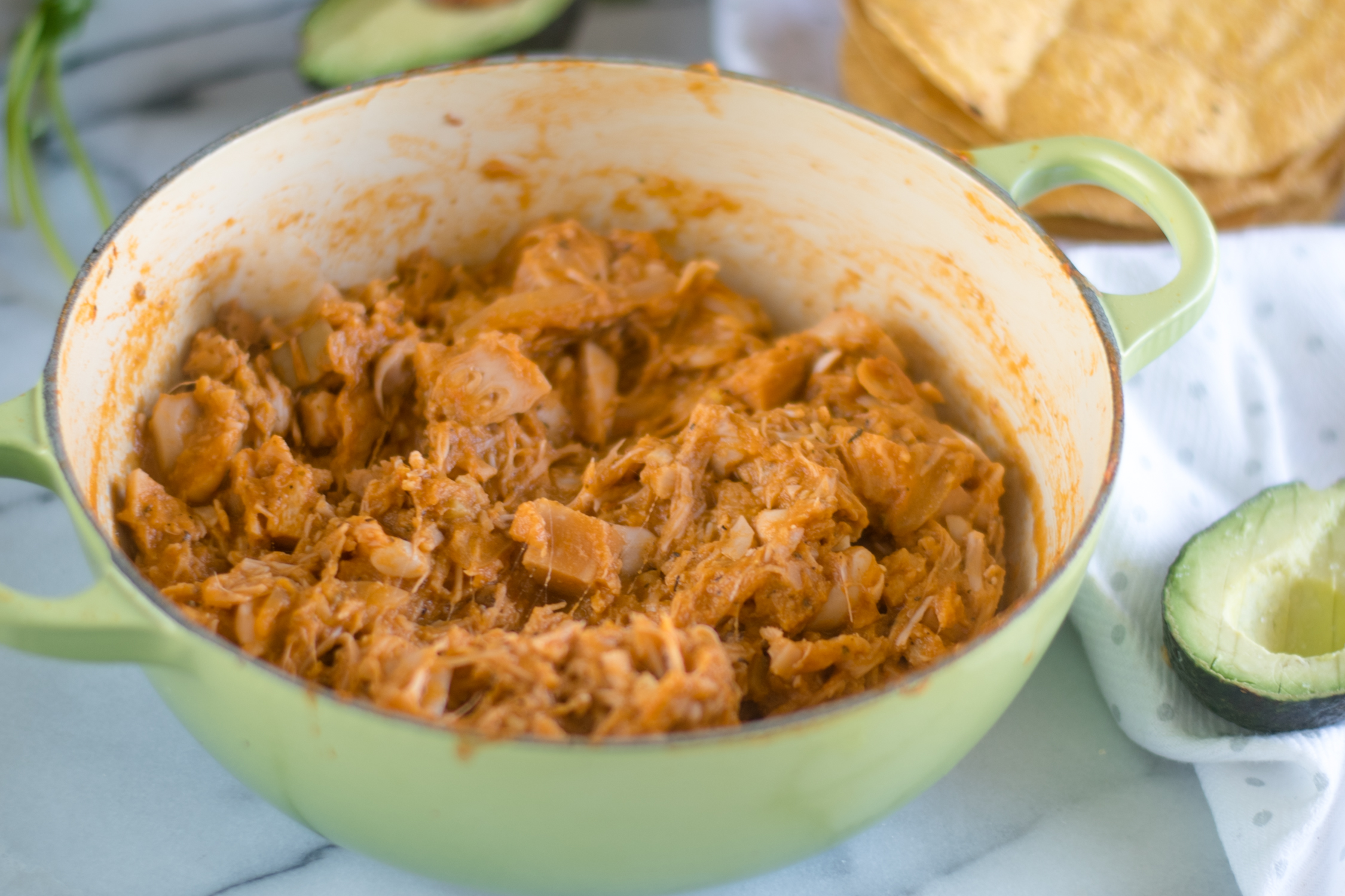 Mexican tinga made with jackfruit for a vegan plant-based version. #vegan #Mexican #recipes