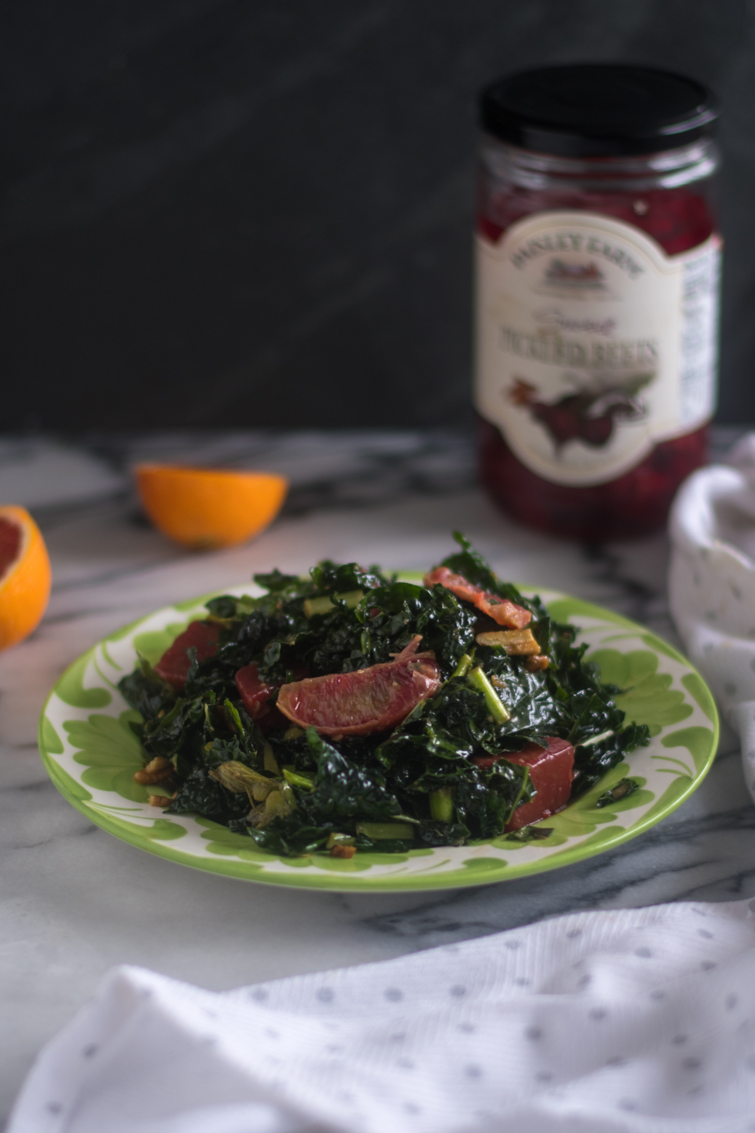 Pickled Beet and Orange Kale Salad with a warm maple and balsamic dressing is perfect for the holidays.