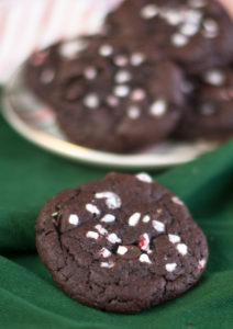 Vegan Chocolate Peppermint Cookies topped with crushed candy canes are perfect for the holidays! #Christmas #cookie #holiday #vegan