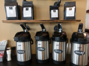 Coffee available at Wheeler's Cafe in Indiana