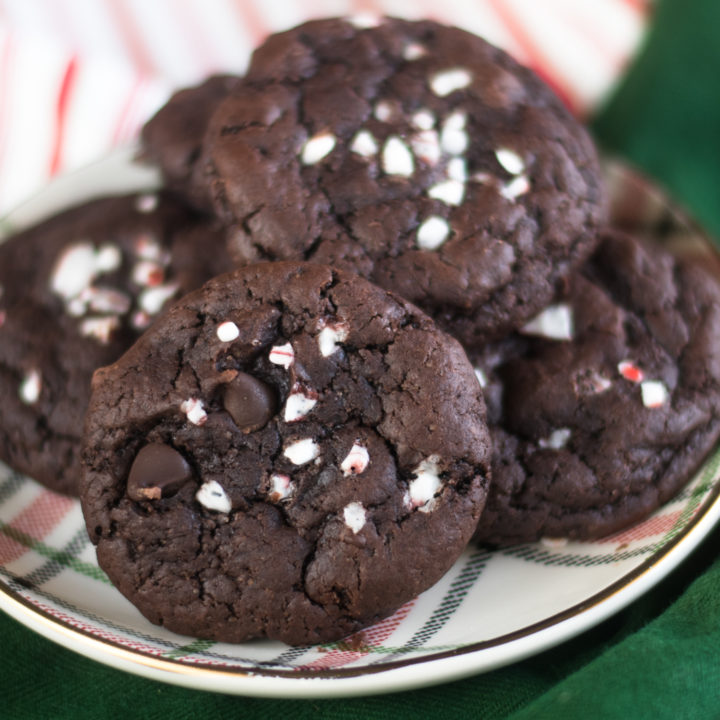 Vegan Chocolate Peppermint Cookies topped with crushed candy canes are perfect for the holidays! #vegan #baking #Christmas #dessert #cookies