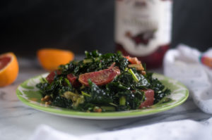 Pickled Beet and Orange Kale Salad with a warm maple and balsamic dressing
