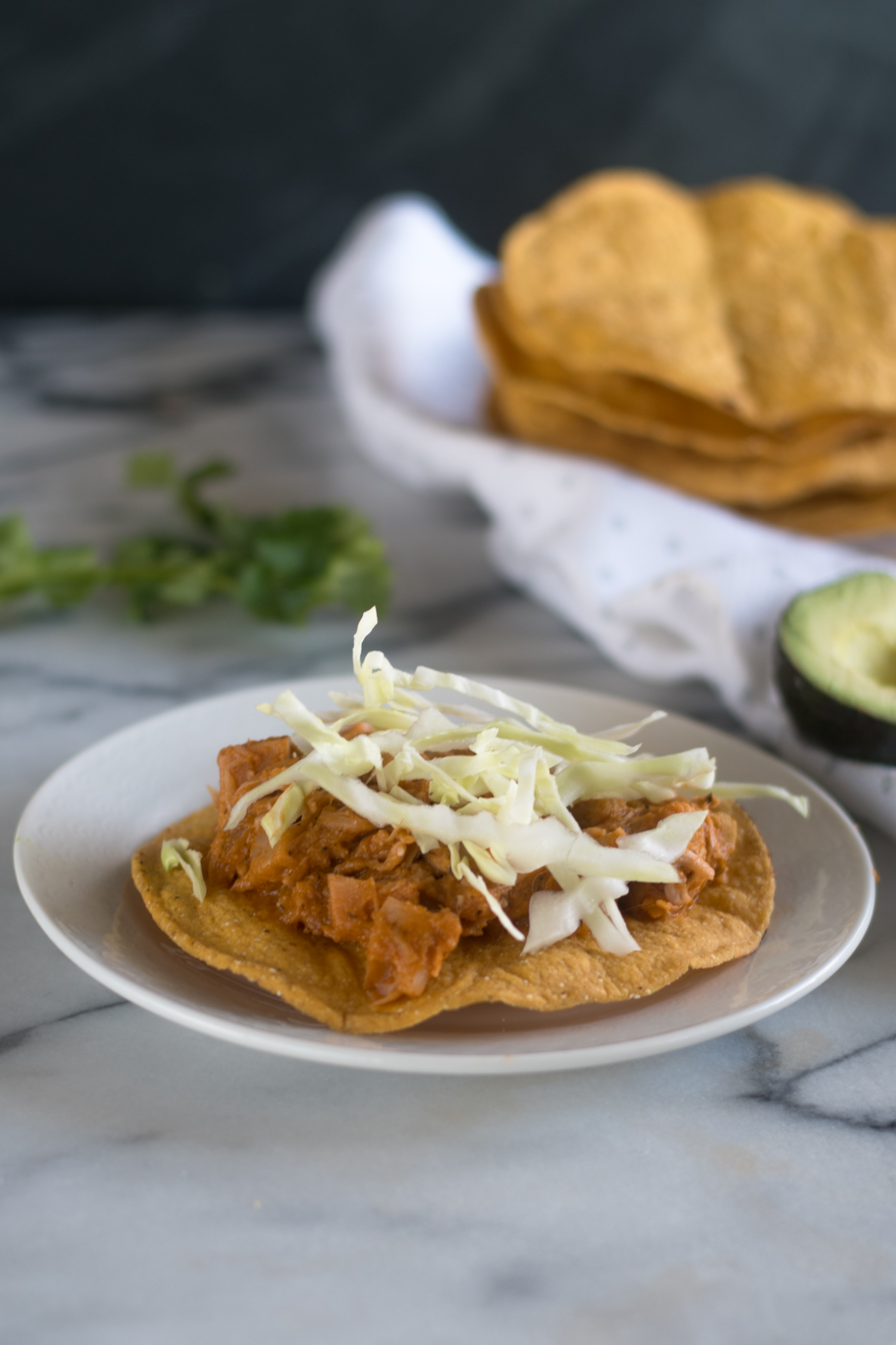 Vegan Tinga Tostadas made with jackfruit
