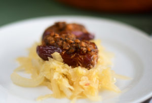 Vegan Stuffed Dates with sauerkraut are perfect for holiday entertaining.