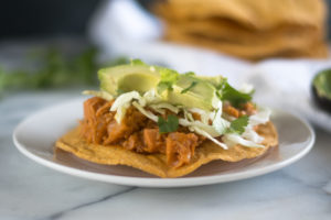Jackfruit is simmered in a tomato and chipotle sauce in this vegan version of Mexican tinga. #Mexican #Vegan #Recipes