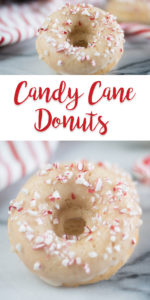 TheseCandy Cane Donuts would make for a very festive breakfast. Perfect for Christmas morning! #Vegan #recipes #Christmas #Holiday #Veganrecipes #breakfast