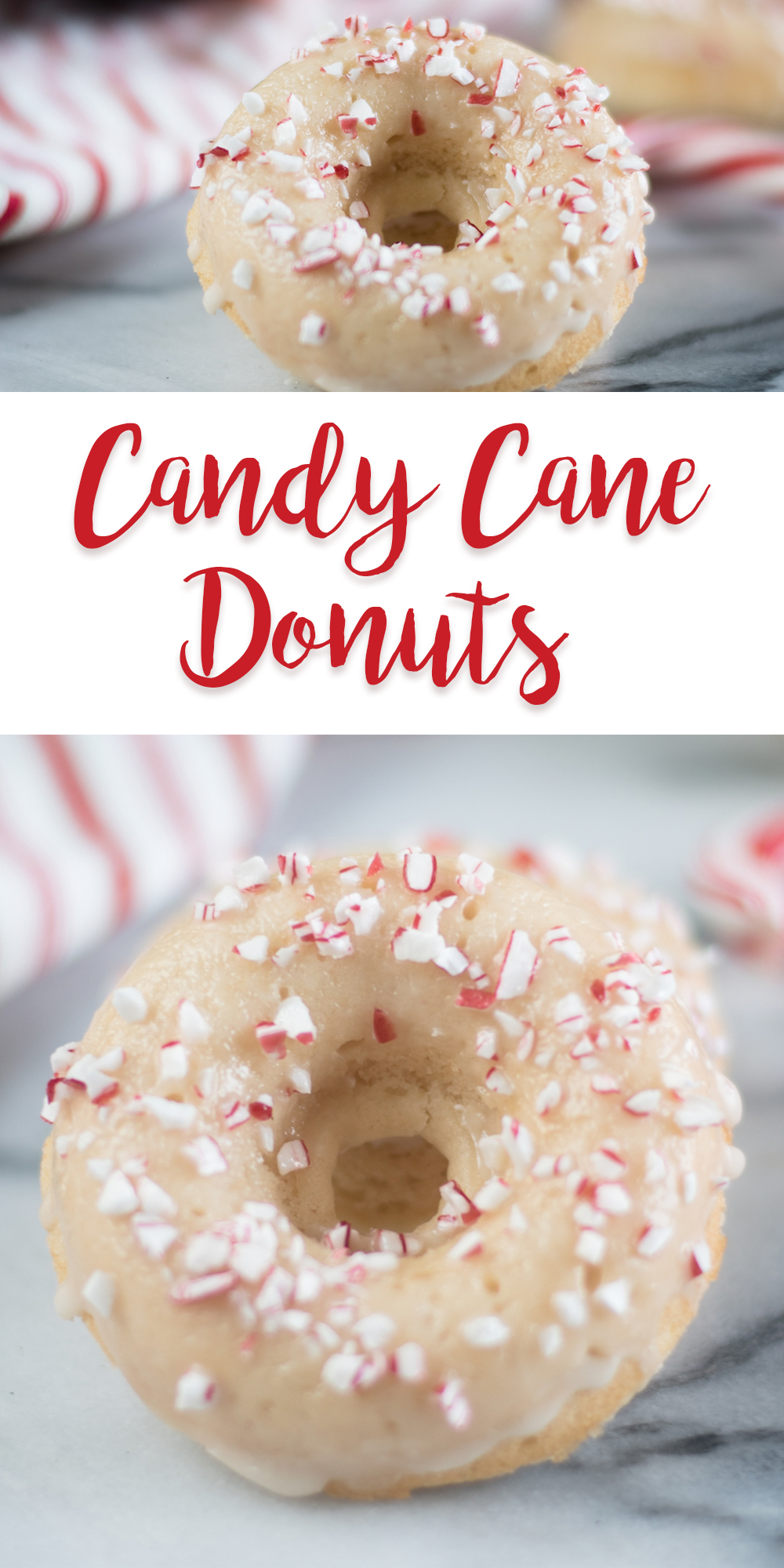 These Candy Cane Donuts would make for a very festive breakfast. Perfect for Christmas morning! #Vegan #recipes #Christmas #Holiday #Veganrecipes #breakfast