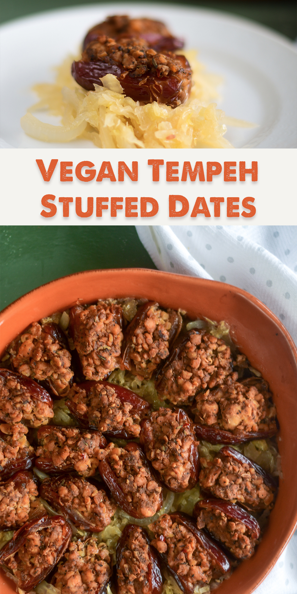 Vegan Sausage Stuffed Dates with sauerkraut are a sweet and savory appetizer perfect for entertaining! #Vegan #recipes #Christmas #veganrecipes #holiday #appetizer #dates #healthyrecipes