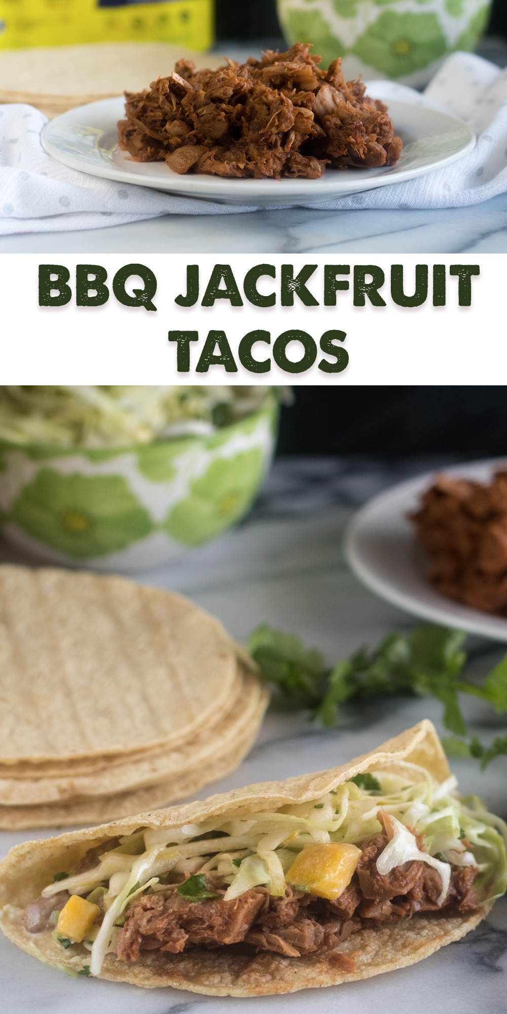 Switch of taco night with these BBQ Jackfruit Tacos with Avocado Mango Cabbage Slaw! #vegan #taco #recipe #jackfruit #healthyrecipes #glutenfree