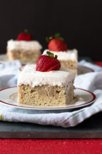 Inspired by a popular dessert in Latin America, this Vegan Tres Leches Cake uses three different types of plant based milks. The cake is topped with a coconut whipped cream and is best served chilled.