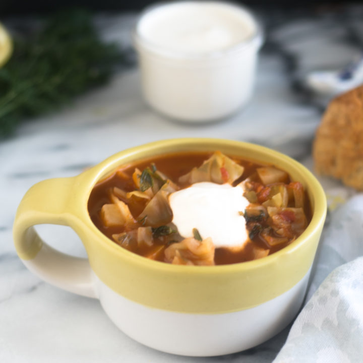 This Potato and Cabbage Soup is a hearty vegan soup recipe that is perfect for the colder months.  #soup #vegan #recipe #winter #healthy #healthyrecipes
