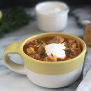 This Potato and Cabbage Soup is a hearty vegan soup recipe that is perfect for the colder months. #vegan #soup #recipes #dairyfree #vegetarian #healthyrecipes