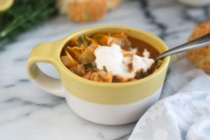 ThisPotato and Cabbage Soup is a hearty vegan soup recipe that is perfect for the colder months.