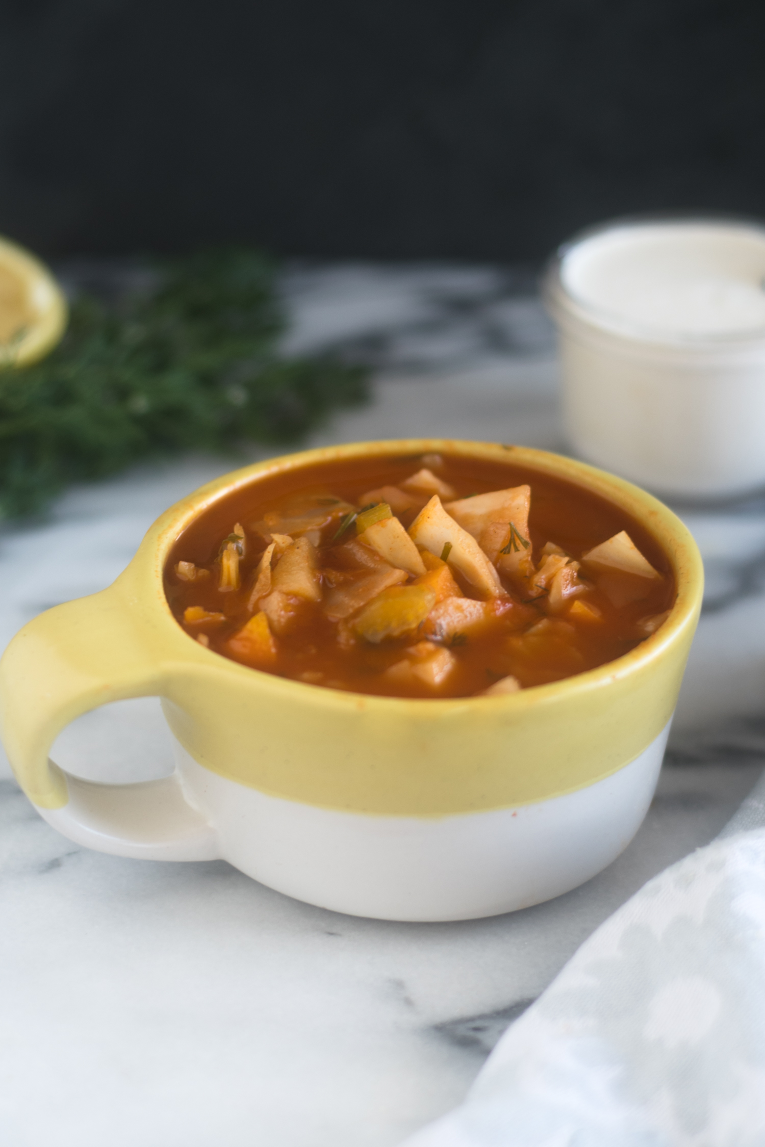 This Potato and Cabbage Soup is a hearty vegan soup recipe that is perfect for the colder months.